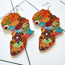 Pendientes de madera redondos geométricos con diseño de mapa de África Vintage étnico Indio Gitano para mujeres miniamista de Egipto joyería elegante para mujeres