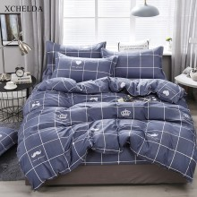 Plaid Comforter Duvet Cover Bed Sheet set Double Queen King Size Bedding Set Blue Nordic Cotton Adult linens Home Textile(China)