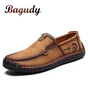 Image 1 - Büyük boy erkek rahat deri düz ayakkabı eski pekin stil mokasen sonbahar kış yüksek kaliteli Moccasins yumuşak taban Zapatos 39 48