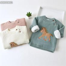 Dziecko sweter noworodka dla dzieci chłopcy swetry gruby polar jednorożec dzieci swetry maluch Cardiagn z dzianiny dla dzieci ubrania dla dzieci dziewczyny sweter z tanie tanio CHILDLAND POEM Na co dzień Z wełny COTTON Pełna PATTERN Cartoon O-neck REGULAR Pasuje prawda na wymiar weź swój normalny rozmiar