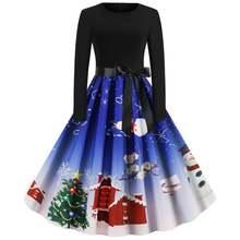 Рождество вечерние ретро модные Стиль Санта Клаус принт с круглым