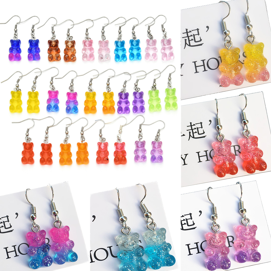 Originality Statement Minimalist Gummy Bear Earrings Crystal Butterfly Bears Drop Earring Dangle Earrings Christmas Jewelry