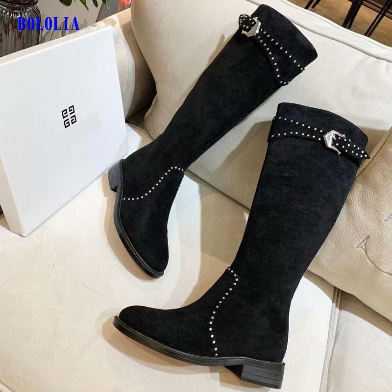 Botas de cuero genuino de alta calidad para mujer, botas de otoño e invierno, botas altas hasta la rodilla, zapatos Martin para mujer - 4