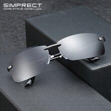 Square Sunglasses Rimless Driver's Retro Vintage SIMPRECT Men Polarized for Anti-Glare