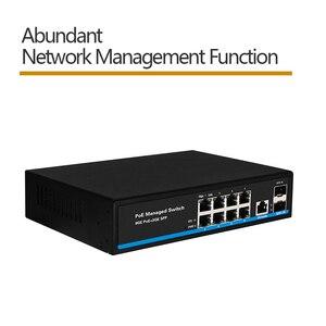 Image 2 - 8 יציאת מתג Gigabit PoE Ethernet מתג מנוהל PoE 48V מתג עם 2 Gigabit SFP חריצים IGMP VLAN ניהול poE מתג