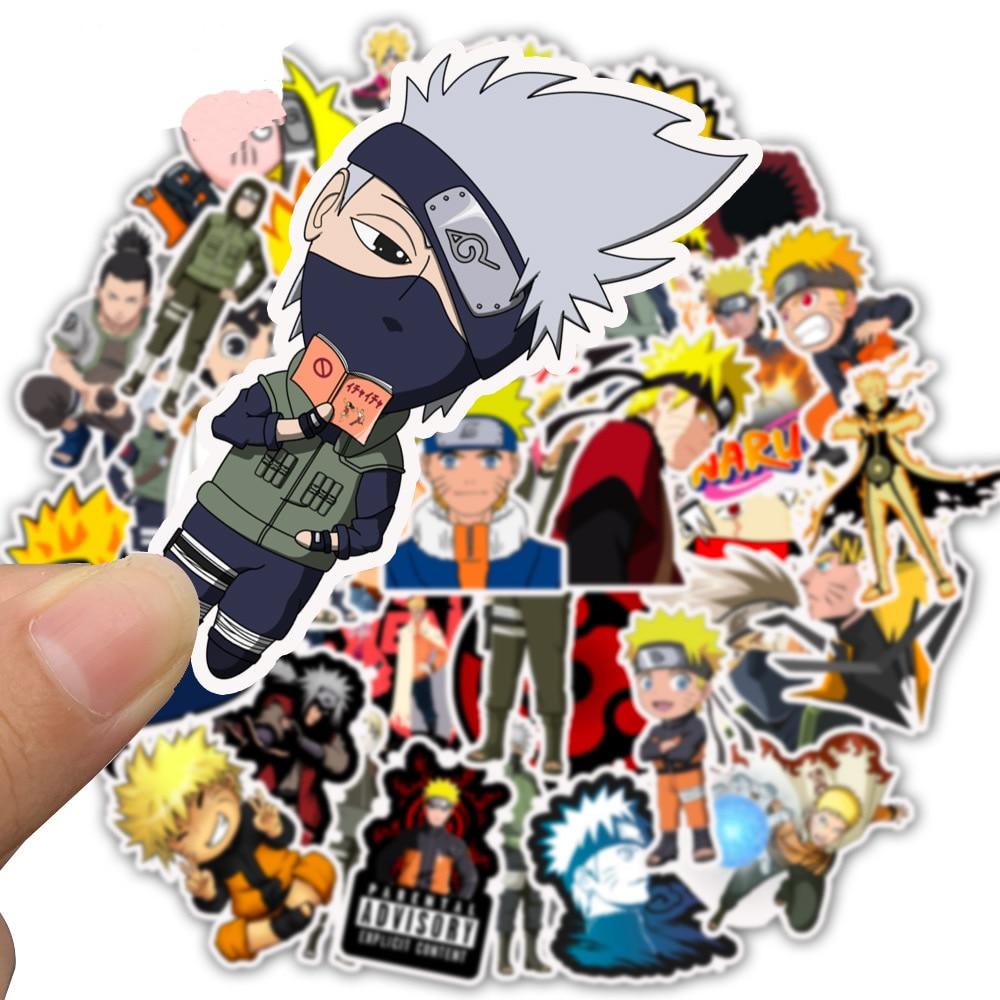 10/30/50pcs Pack Anime Cartoon Naruto Stickers Waterproof PVC Car Water Bottle Guitar Snowboard Motorcycle Cool Sticker Kids Toy