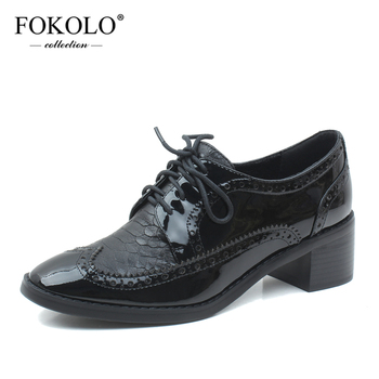 FOKOLO Casual Shoes Women Patent Leather Sewing Round Toe Lace-Up Brogue Shoes Rubber Sole Handmade Spring New Ladies Flats P10