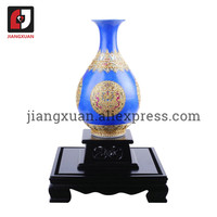 Yuhuchun sapphire blue porcelain 24k gold foil 8inch antique vase chinese handicrafts vintage home decor keepsake birthday gifts