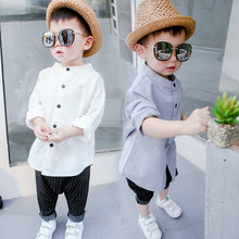 Sommer Baby Jungen Shirts Kleinkind Junge Baumwolle Leinen Langarm shirt 1-6 Jahre Kinder Hemd Casual Kinder