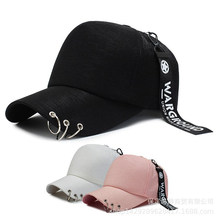 Fshion Men and Women Black Snapback Baseball Hat and Cap with Rings Trucker Hats and Caps Hip Hop Pink and White(China)
