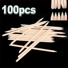 100 Pcs Houten Cuticle Pusher Nail Art Cuticle Remover Orange Wood Sticks Voor Cuticle Verwijderen Manicure Nail Art Gereedschap(China)
