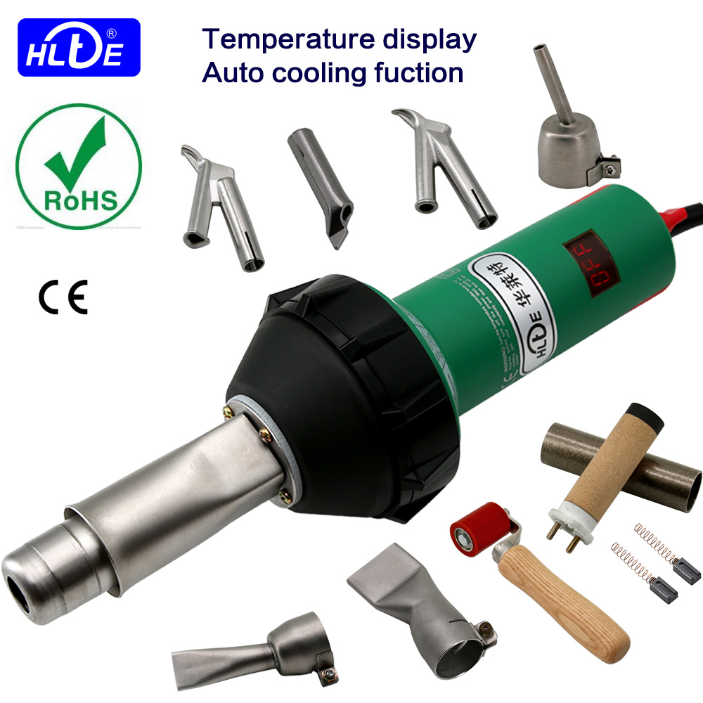 Fast shipping HLTE-D16S 230V 1600W Plastic welding torch heat gun hot air welder for PVC PP PETemperature display Auto cooling