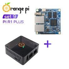 Pomarańczowy Pi R1 Plus + czarna obudowa ABS, Router SBC OpenWRT z podwójnym GbE,1GB Rockchip RK3328, obsługa systemu Android 9/Ubuntu/Debian OS