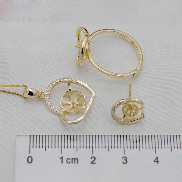 Meibapj Thật Nữ Bạc 925 Trái Tim Thời Trang Bộ Trang Sức Ngọc Trai Tự Nhiên Mặt Dây Chuyền Nhẫn Bông Tai Cưới Trang Sức Dành Cho Nữ
