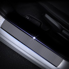 Car Styling Carbon Fiber Vinyl Sticker Door Sill Protector Scuff Plate sill guard For SKODA FABIA Accessories 4Pcs