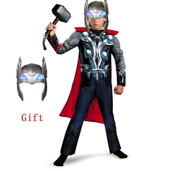 Halloween Super Hero Kids Muscle Thor Thanos with cloak Cosplay Costumes Clothes With mask Child Stormbreaker Costumes dress image