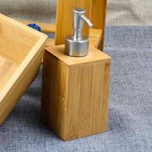 Doğal Bambooe duş şampuanı şişe sıvı mutfak sabunluk çanak şişe el Sanatizer dağıtıcı doldurulabilir banyo için