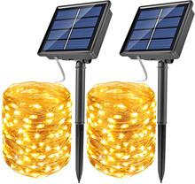 LED zewnętrzna lampa solarna łańcuchy świetlne 100 200 LEDs Fairy Holiday Christmas girlanda na przyjęcie Solar Garden wodoodporna 10m cheap DUUINO CN (pochodzenie) ROHS Bright and lasting two years IP65 1 2 v Klin Żarówki led ART DECO Ni-mh
