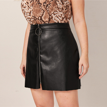 Plus Size Black O-ring Zip Front PU Pencil Skirts
