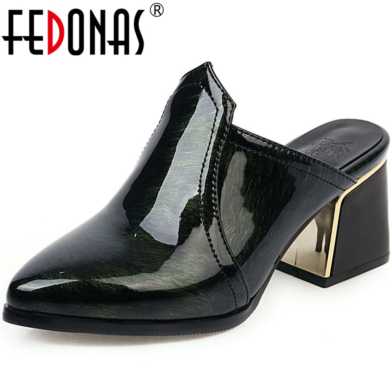 FEDONAS Patent Leather Women Shoes Sexy High Heels Pumps Spring Summer Mules Shoes Supper Night Club Elegant Newest Shoes Woman