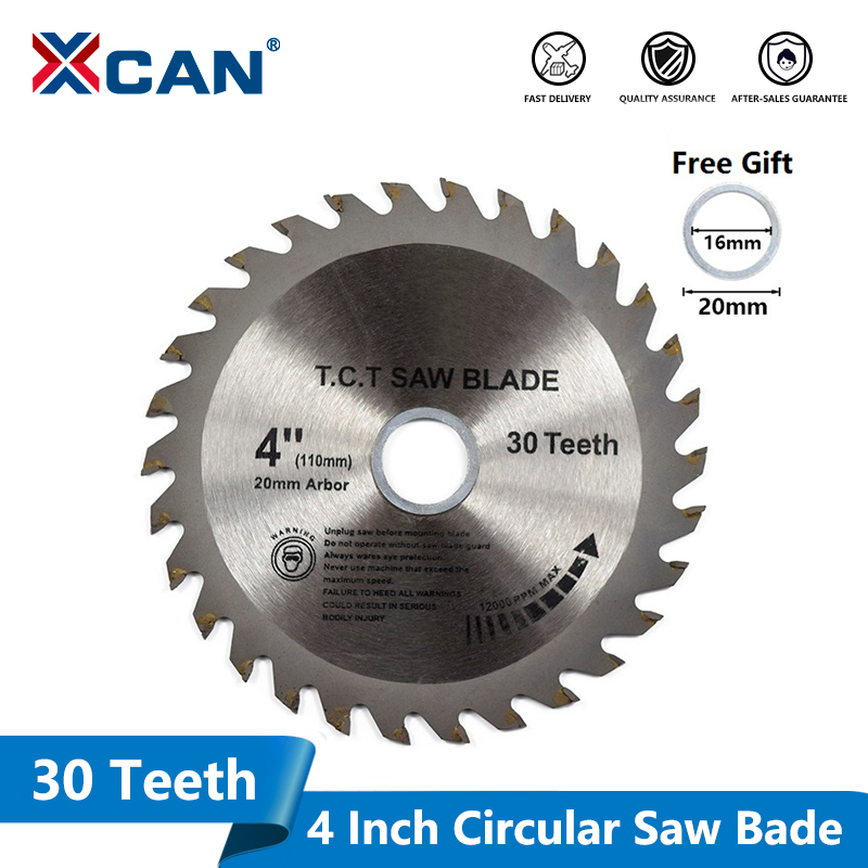 XCAN 1pc 4''(110mm)x20x1.8mm 30Teeth TCT Saw Blade Carbide Tipped Wood Cutting Disc Circular Saw Blade