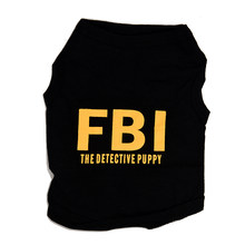 Top-Top Fashion Hond Kat Pet Zomer FBI De Detective Puppy Zwart Vest Shirt T-shirt S(China)