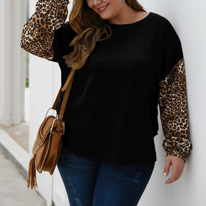 Женская Лоскутная леопардовая футболка с длинным рукавом и круглым