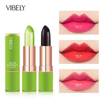 Vibely-lápiz labial de áloe Vera, gel hidratante que cambia de Color, pintalabios...