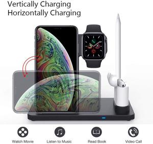 Image 4 - 4 in 1 Stand Fast Wireless Charger for Apple Pen Watch Series for iPhone X Xs Max Xr 8 Plus Airpods Charging Dock Station, Black