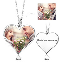 925 Sterling Silver Customize Color Photo and Engraved Text in Love Heart Pendant Chain Necklaces Collar Jewelry