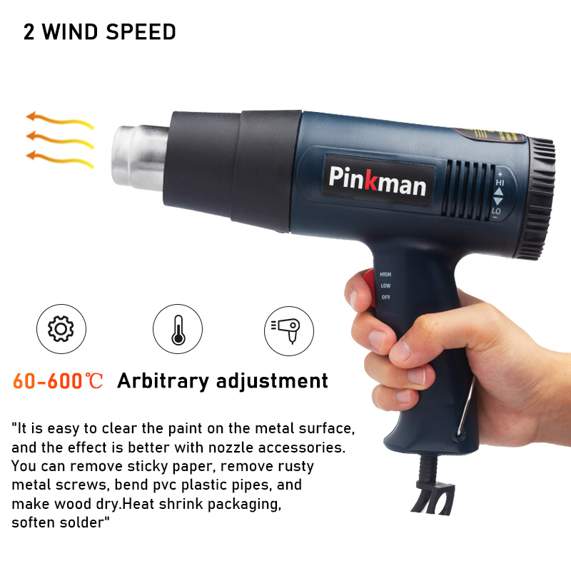 Tools : Pinkman Heat Gun Heat Gun 2000W Electric Hot Air Gun Variable 2 Temperatures Industrial Power Tool with Four Nozzle Attachment