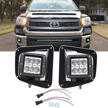 Wsen For 2014-2019 Toyota Tundra 2x 18W 3 Inch LED Cube Fog Lights Pod with Front Hidden Bumper Foglight Mounting Bracket