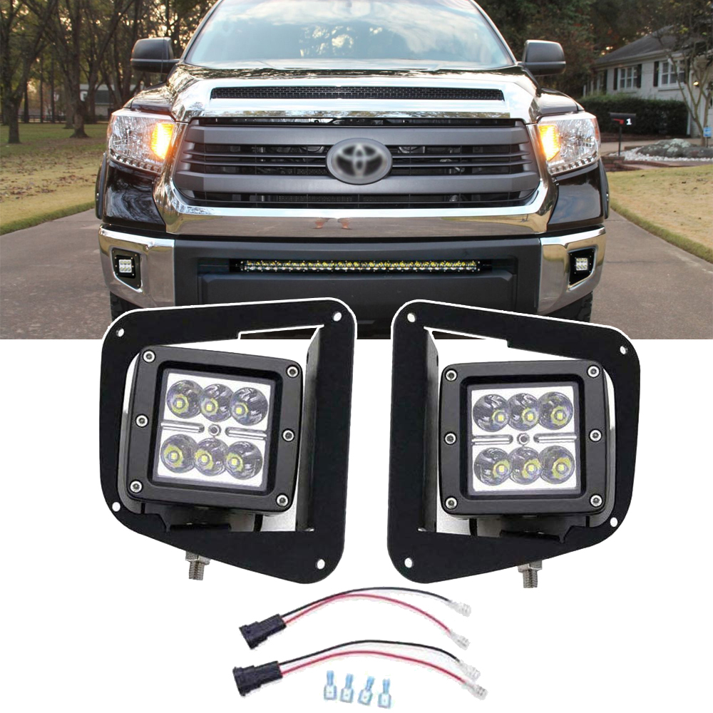 Wsen For 2014-2019 Toyota Tundra <font><b>2x</b></font> 18W 3 Inch LED <font><b>Cube</b></font> Fog Lights Pod with Front Hidden Bumper Foglight Mounting Bracket image