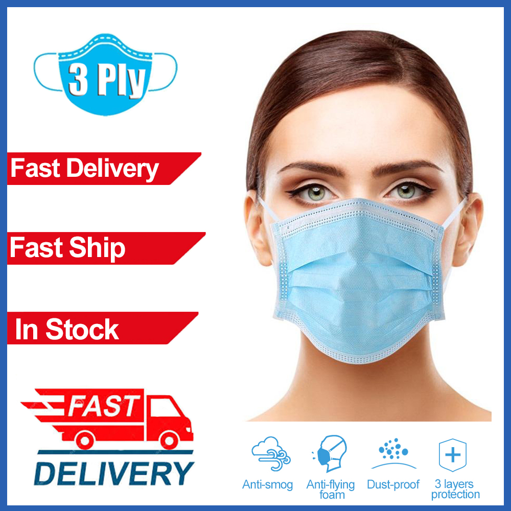 20/50/100pcs Disposable Earloop Face Mouth Breathing Masks 3 Layer Anti-Dust Non Woven Mask Meltblown Cloth Protective Face Mask