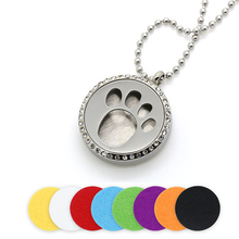 BOFEE Crystal Essential Oil Necklace Locket Stainless steel Silver Dog Paw Magnet Aromatherapy Perfume Diffuser Pendant 30MM
