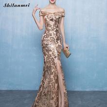 Gold Sequin Off Shoulder Long Dress Women Elegant Slash Neck Sequined Maxi Evening Party Dress Floor-Length Side Slit Vestiods stylish plunging neck black side slit women s maxi dress