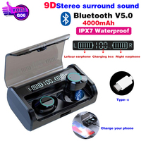 G06 Bluetooth Earphone LED Power Display TWS 9D Stereo Surround Sound Business Wireless Bluetooth Earbud With 4000mAh Charge Box