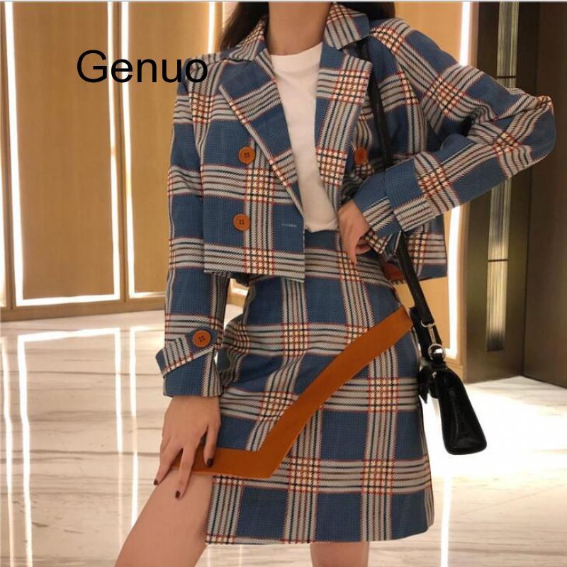Retro Women Plaid Blazer High Waist A Line Mini Short Skirts Long Sleeve Suits 2 Pieces Set Double Row Button Lattice Sets