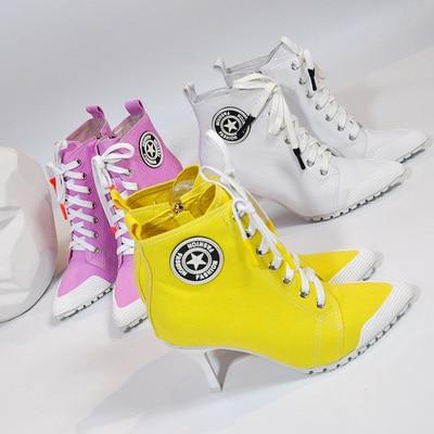 2019 New Women's Shoes Canvas Ladies Shoes Boots Denim High Heels 8.5CM Female Canvas Pumps Lady's Ankle Boots Lace-Up Thin Heel