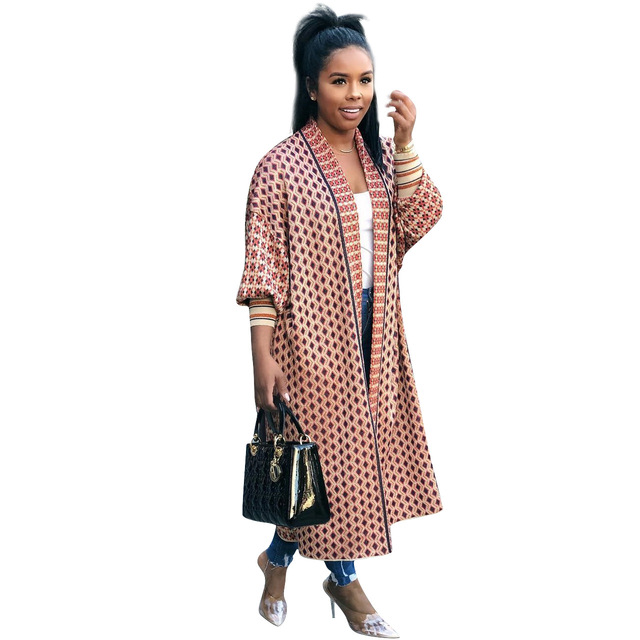 Leopard Printed Long Trench Coats Long Sleeves V Neck  Mid Calf Lady 4