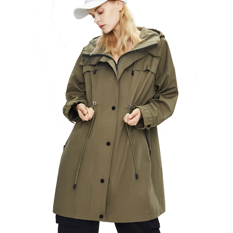 Women 2020 New Style Autumn and Winter Wide Waisted Trench Coat Female Casual Loose Hooded Fashion Army Green Oversize Jackets image