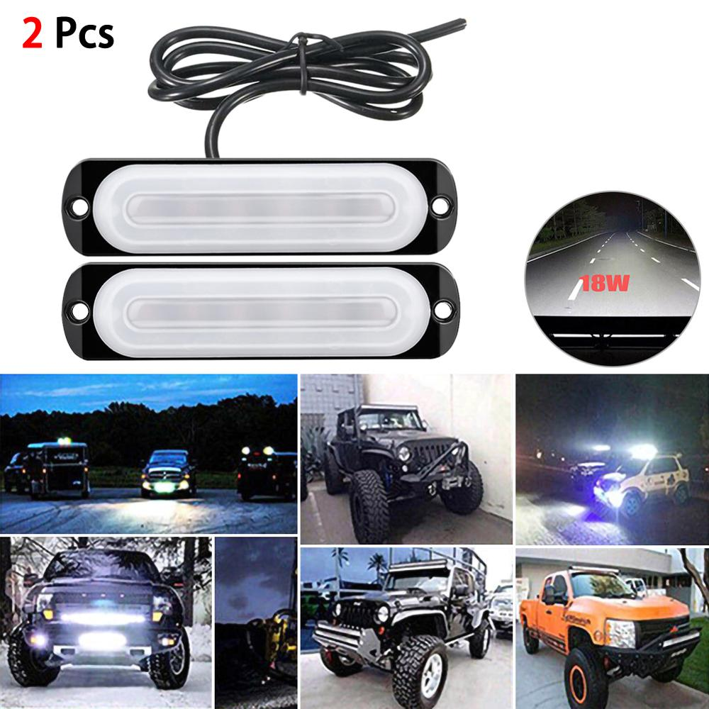 12V LED Floods Work Light Bar Spot Offroad 4WD Car Driving Fog Lamp 18W White Anti-collision Daytime Running Lights