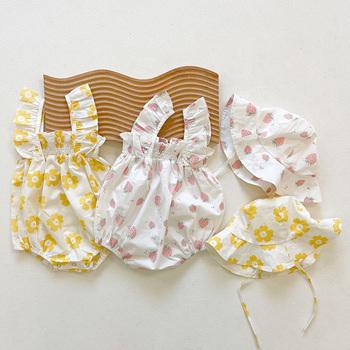 MILANCEL 2021 letnie noworodki ubrania małe dziewczynki body kwiatowe body niemowlęce jednoczęściowe z kapeluszem tanie i dobre opinie CN (pochodzenie) Lato dla dziewczynek COTTON Aktywne W wieku 0-6m 7-12m 13-24m 25-36m MIL0510 Floral baby Z okrągłym kołnierzykiem