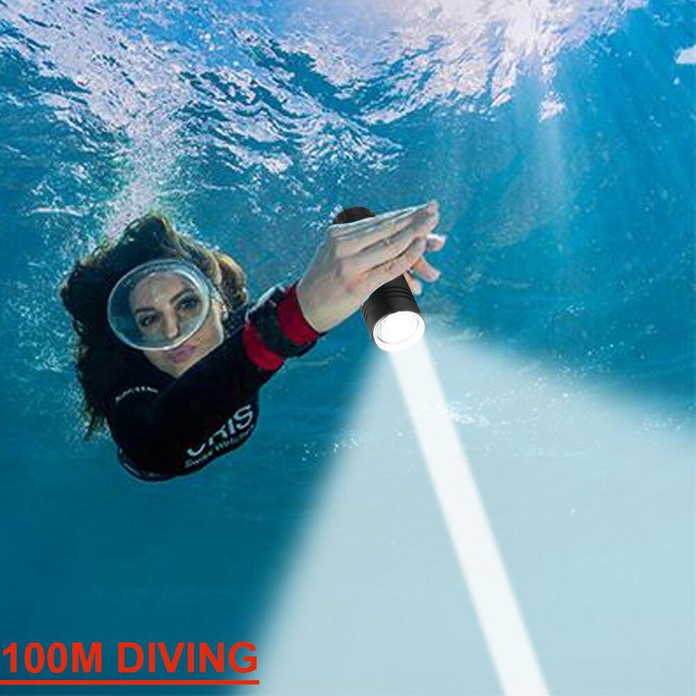 Professional Diving Led Flashlight 100m Underwater Light Scuba Dive Torch Rechargeable Xm L2 Hand Lamp 26650 Led Dive Flashlight