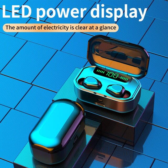 bluetooth v50 наушники 3500 ма/ч беспроводные со светодиодной фотография