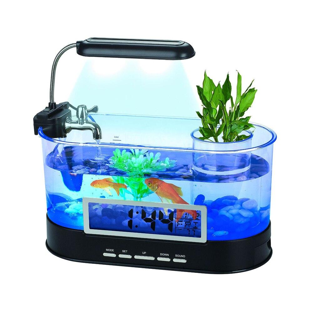 Aquarium d'usb de réservoir de poissons d'aquarium de 1.5L Mini avec l'écran d'affichage à cristaux liquides de lumière de lampe à LED et l'aquarium noir/blanc de réservoir de poissons d'horloge D20