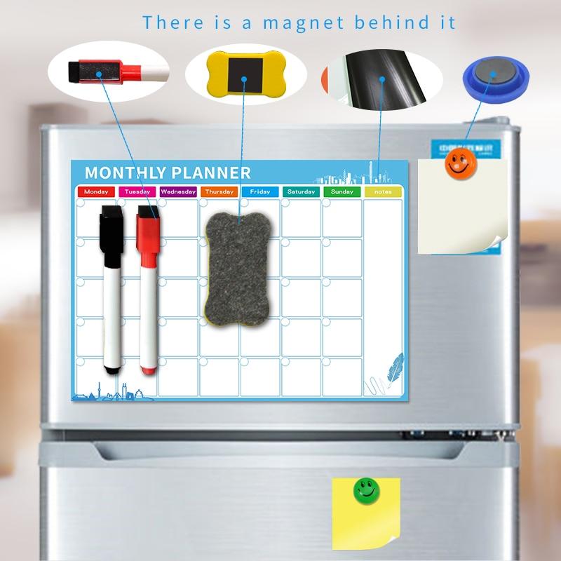 Dry Erase Magnetic Calendar, Fridge Magnetic Calendar, White Board Planner for Refrigerator, Monthly Planner for Kitchen