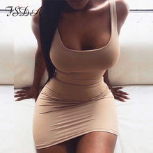 FSDA — Robe courte, moulante et sexy pour femme, tenue de soirée basique sans manches à col carré, à dos nu, style club, couleurs jaune, verte, rose et noire, vêtement d'été, 2020