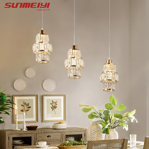 Image 5 - Nordic LED Pendant Lights Crystal Gold Hanging Lamp For Dining Table Bar Kitchen Living room lampada industrial Modern Light