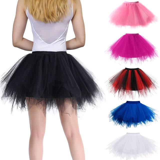 Women Skirts Tutu Princess Fashion Ballet Black Tutu Fluffy Skirt for Women Tulle Petticoat Skirts Elastic Adult Pink Tutu Skirt